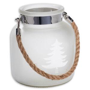 Windlicht - Glas - weiß - mit Kordel