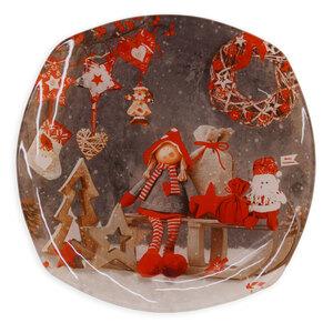 Deko-Weihnachtsteller - bunt - Glas