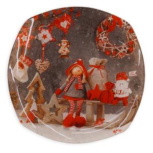 Deko-Weihnachtsteller - bunt - Glas - Ø 25 cm