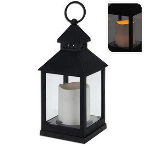 Laterne mit LED Kerze - schwarz-weiß - 23 cm hoch