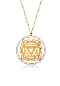 Nenalina Halskette Muladhara Chakra Swarovski® Kristalle 925 Silber, Gold, 80 cm, gold, cm