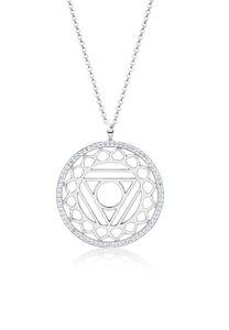 Nenalina Halskette Vishuddha Chakra Swarovski® Kristalle 925 Silber, 80 cm, silber, cm