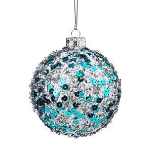 BUTLERS HANG ON Weihnachtskugel Pailletten Ø 8 cm, hellblau, cm. Höhe cm
