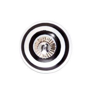 BUTLERS OPEN Keramik Möbelknopf geringelt, schwarz-weiss, Ø 5 cm