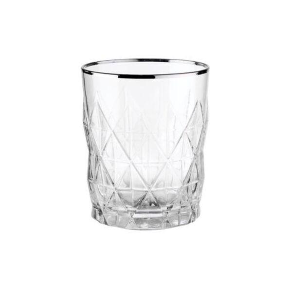 BUTLERS ATLANTIS Wasserglas mit Goldrand, Silber, silber, Ø 8.2 cm. Höhe 10 Füllmenge: 345 ml