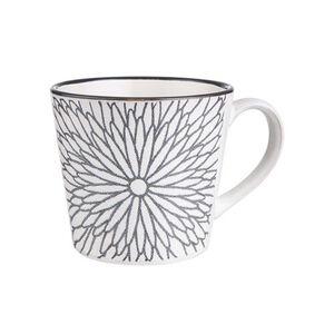 BUTLERS SHINTO Tasse Blumen 380ml, schwarz-weiß, Länge 12.5 x Breite 9.8 Höhe 8.5 cm. Füllmenge: 380 ml