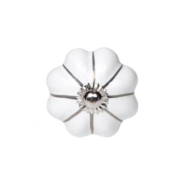 BUTLERS OPEN Möbelknopf Blume mit Silberstreifen, weiss, Länge 4.5 x Breite Höhe 6.5 cm
