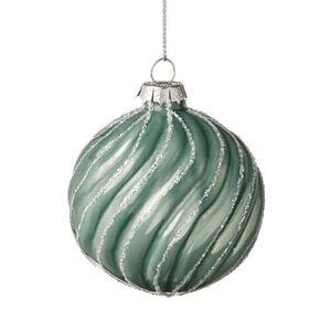 BUTLERS HANG ON Weihnachtskugel geriffelt Ø 8 cm, salbei, cm. Höhe cm