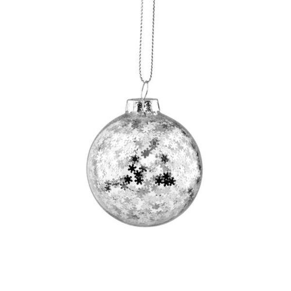 BUTLERS HANG ON Glaskugel Sterne Ø 6cm, Silber, silber, Länge 6 x Breite Höhe cm