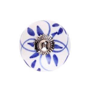 BUTLERS OPEN Keramik Möbelknopf Ornament, blau-weiss, Ø 5 cm