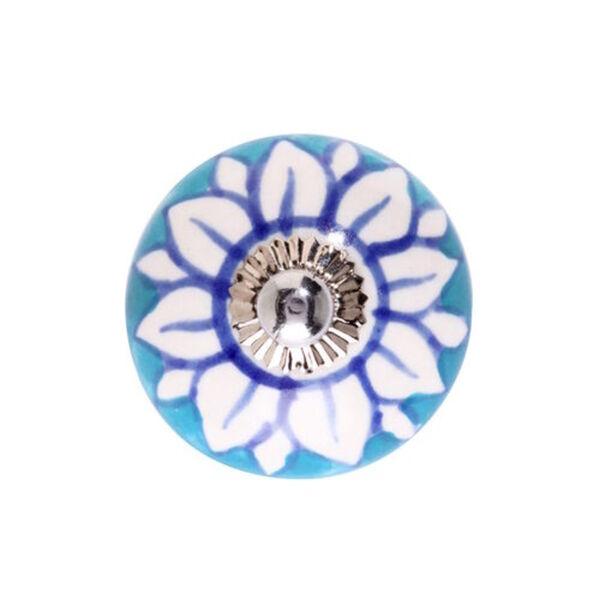 BUTLERS OPEN Keramik Möbelknopf Blüte, blau-weiss, Ø ca. 5 cm. Schraube 3 cm