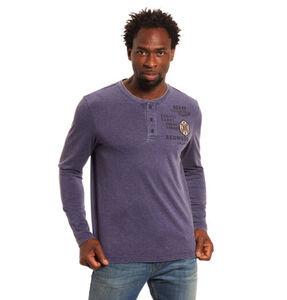 Globetrotter Langarmshirt, Baumwolle, Henley-Ausschnitt, Patches, Print, lila, XL