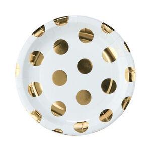 BUTLERS GOLDEN DOTS Pappteller goldene Punkte Ø 23 cm 10 Stück, gold-weiss, cm. Höhe 2 Stück