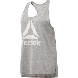 REEBOK DEUTSCHLAND GMBH Tank-Top, schnelltrocknend, atmungsaktiv, Ringerrücken, Print, für Damen, grau meliert, L