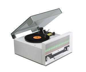 Bluetooth LED Plattenspieler mit integriertem Radio CD Player und Digitalisierungsfunktion Technaxx