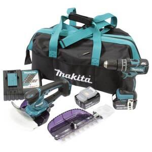 Akku-Gras- und Strauchschere 18V und Akku-Schlagbohrschrauber 18V Set Makita