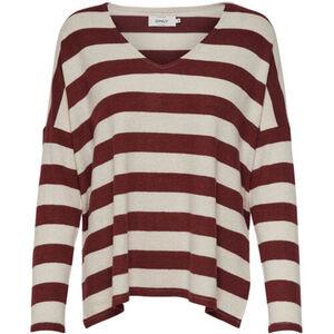 Only Damen Pullover gestreift, beige/braun, S, S