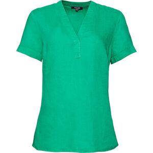 Adagio Damen 1/2-Arm Leinenbluse, smaragd, 44, 44