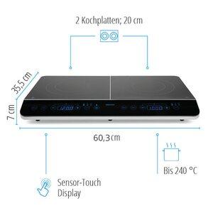MEDION Doppel-Induktionskochplatte MD 15324, 3500 Watt Induktionsleistung, automatische Topferkennung, energiesparend