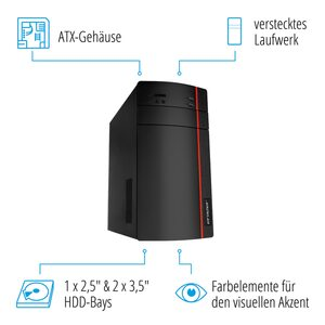 MEDION AKOYA® P67060, Intel® Core™ i5-9400F, Windows 10 Home, 256 GB SSD, 16 GB RAM, Core Gaming PC