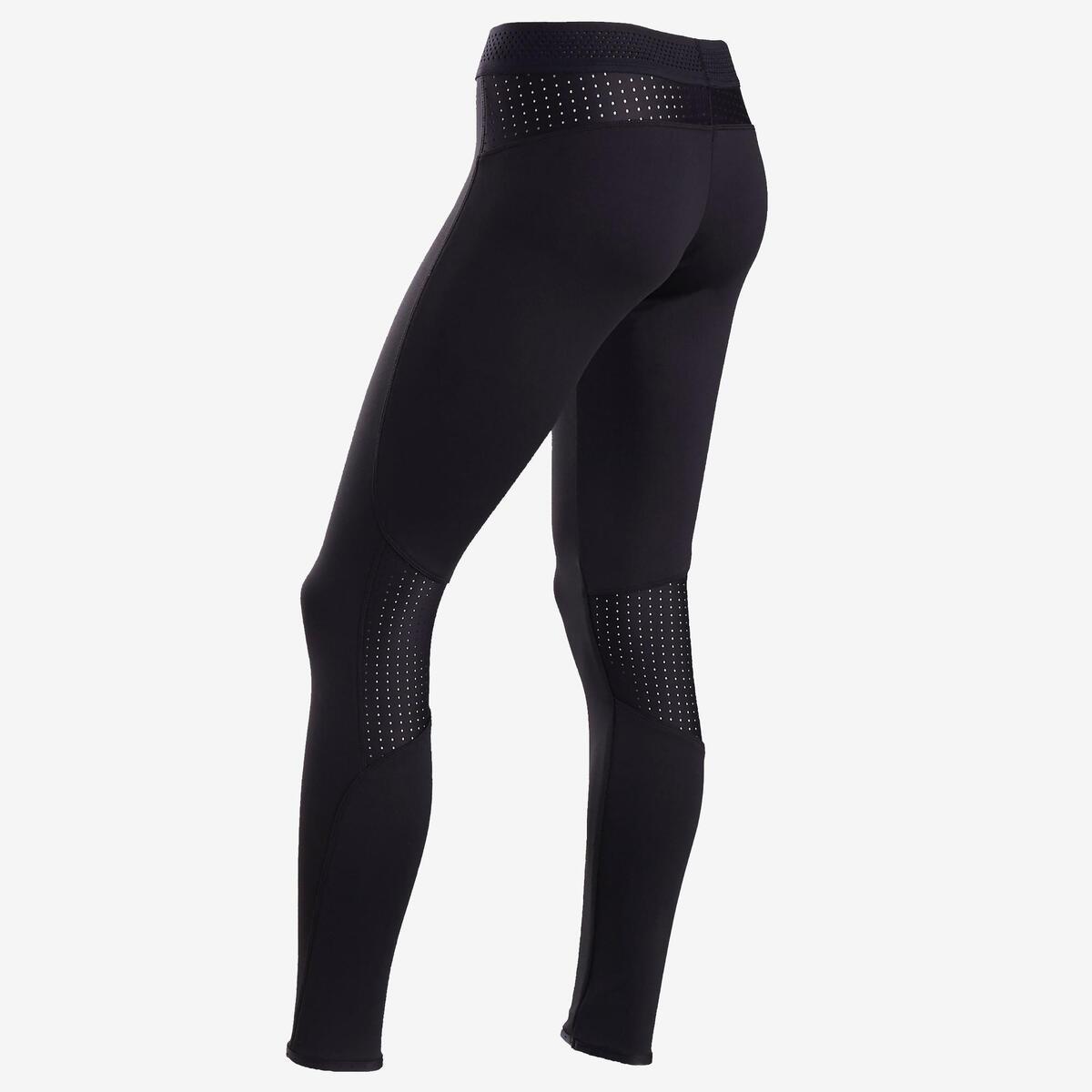 Bild 2 von Leggings warm atmungsaktiv S900 Gym Kinder schwarz, Innenseite grau