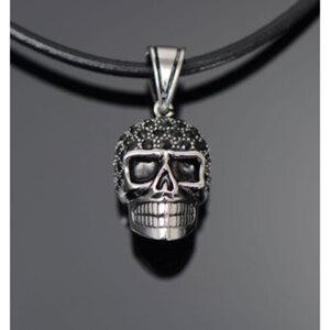 """Halskette """"Woman Skull""""        Chirurgenstahl/Leder, Länge: 45-50cm"""