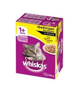 Whiskas® 1+ Geflügelauswahl in Sauce, Nassfutter, 12x100g