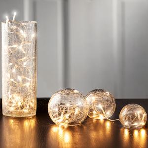"""I-Glow Glaskugeln 3er-Set oder Vase """"Cracked-Effekt"""""""