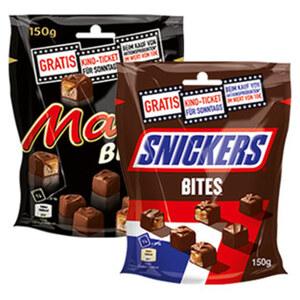 Mars, Twix oder Snickers Bites jeder 150/154-g-Beutel