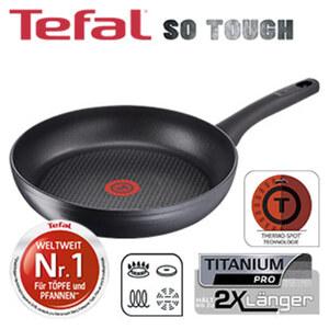 """Serie """"SO TOUGH"""" - widerstandsfähige TEFAL-Titanium Pro® Antihaft-Versiegelung - starker, langlebiger Induktionsboden für perfekte Hitzeverteilung - verstärkter Rand für zusätzliche Stabili"""