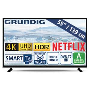 "55""-Ultra-HD-LED-TV 55 VLX 600 • HbbTV • 3 HDMI-/2 USB-Anschlüsse, CI+ • 40 Watt RMS • Stand-by: 0,45 Watt, Betrieb: 84,1 Watt • Maße: H 72,8 x B 124,7 x T 8,5 cm • Energie-Effizienz A+"