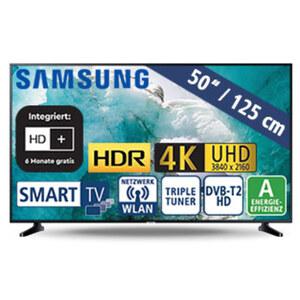 """50""""-Ultra-HD-LED-TV UE50RU7099 • HbbTV • 3 HDMI-/2 USB-Eingänge, CI+ • 20 Watt RMS • Stand-by: 0,5 Watt, Betrieb: 91 Watt • Maße: H 65 x B 112,5 x T 5,9 cm • Energie-Effizienz A (Spek"""
