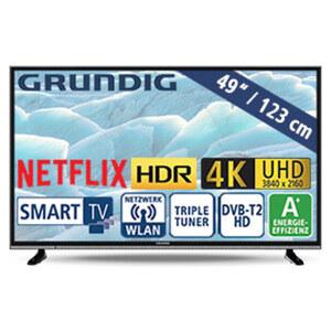 "49""-Ultra-HD-LED-TV 49 VLX 600 • HbbTV • 3 HDMI-/2 USB-Anschlüsse, CI+ • 40 Watt RMS • Stand-by: 0,45 Watt, Betrieb: 67,1 Watt • Maße: H 64,9 x B 110,8 x T 8,5 cm • Energie-Effizienz"