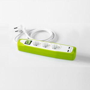 Powertec Electric Design-Steckdosenleiste, 3-fach - Weiß-Grün