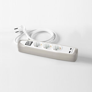 Powertec Electric Design-Steckdosenleiste, 3-fach - Weiß-Grau