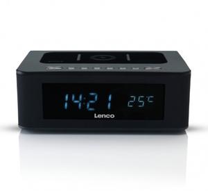 Lenco Radiowecker CR-580, Bluetooth, Kabelloses Handy laden, Farbe: Schwarz
