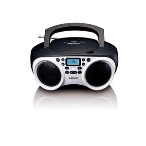 Lenco Tragbares Radio SCD-501, CD-Player, Bluetooth, Farbe: Schwarz/Weiß