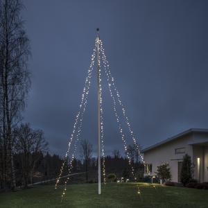 Konstsmide - LED Lichtermantel mit Ring, für Fahnenmast, 5 Stränge, vormontiert, 500 warm weiße Dioden, 24V Außentrafo, schwarzes Soft-Kabel; 4780-117