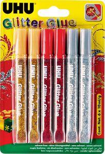 UHU Klebeartikel - Glitter Glue 6x10ml - rot, gold, silber
