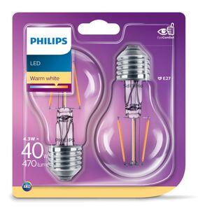 Philips LED-Filament, 2er Set - Birne E27 40W
