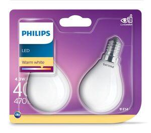 Philips LED-Filament, 2er Set - Tropfen E14 40W Glas