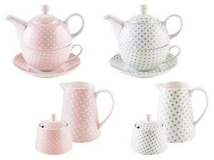 ERNESTO® Teekanne inkl. Tasse / Zuckerdose und Milchkännchen-Set