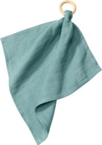 ALANA Baby Schmusetuch mit Beißring, in Bio-Baumwolle und Holz, blau, für Mädchen und Jungen