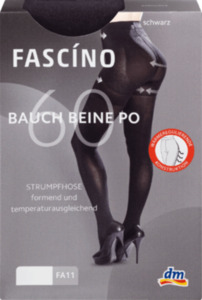 FASCÍNO Strumpfhose Bauch-Beine-Po, 60 den, schwarz, Gr. 42-44