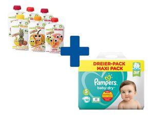 1x Pampers Baby-Dry Windeln/ Pants + Gratis 6x Freche Freunde Bio-Quetschie