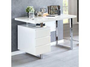 Wohnling Design Schreibtisch PATTY 115x60x76 cm Groß Weiß Hochglanz Computertisch