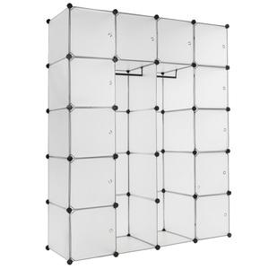 Steckregal 12 Boxen mit Türen inkl. Kleiderstangen weiß