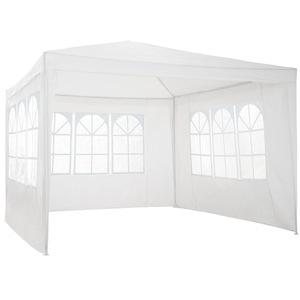 Garten Pavillon 3x3m mit 3 Seitenteilen weiß