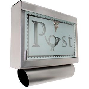 Edelstahl Briefkasten mit Zeitungsröhre und Glasfront