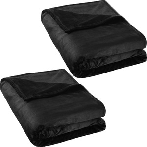 2 Kuscheldecken Polyester 220x240cm schwarz